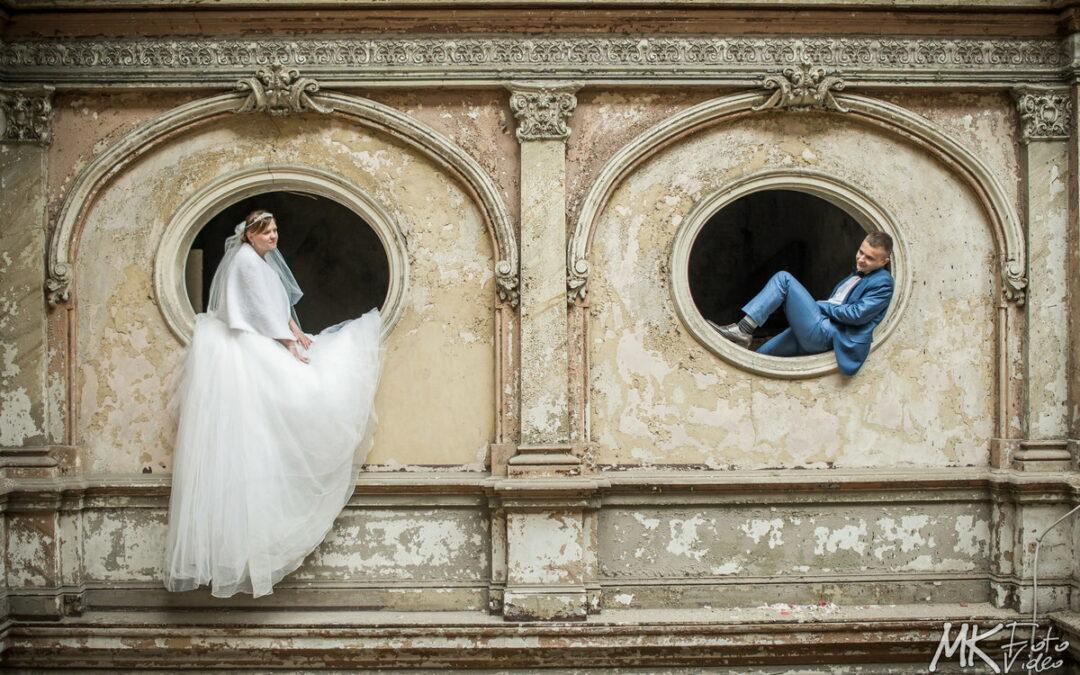 Plener ślubny w Krowiarkach – wnętrza ruin pałacu